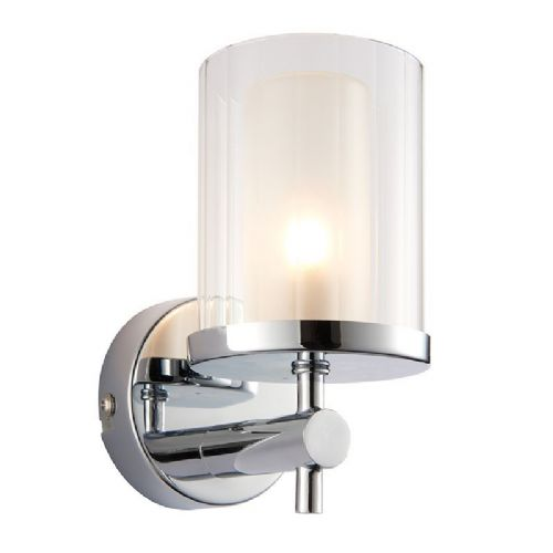 Chrome effect plate & clear rippled glass IP44 Bathroom Wall Light 51885 by Endon